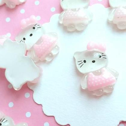 6 Hello Kitty Cabochons, Resin, Kaw..