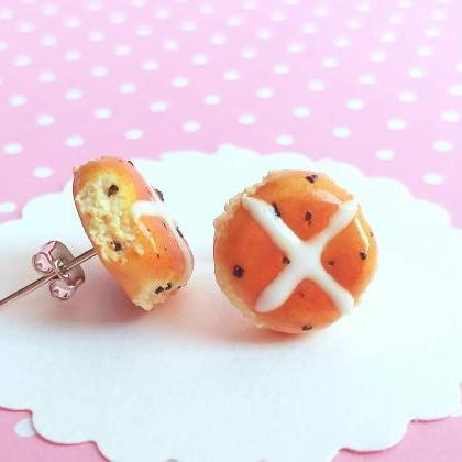 Hot Cross Buns Earrings -Food Jewel..