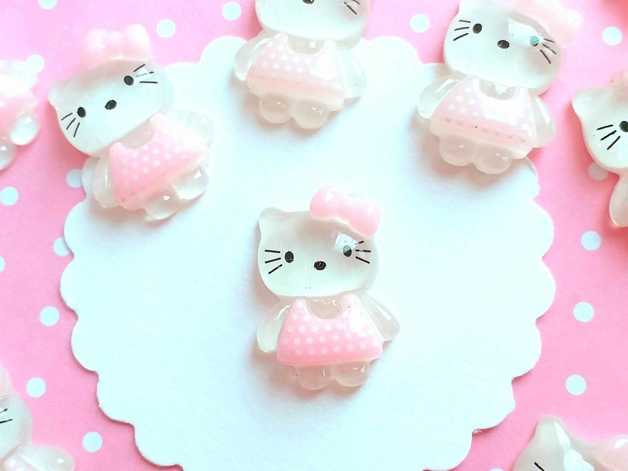 6 Hello Kitty Cabochons, Resin, Kawaii Cabochons, Flatback, Slime, Decoden, Embellishment, Craft Supplies, Scrapbooking