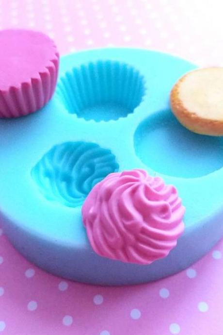 Cupcake Silicone Mold, 22mm, Cupcake Polymer Clay Mold, Flexible Push Mold, Dollhouse Miniature Mold, Kawaii Decoden, Resin Mold