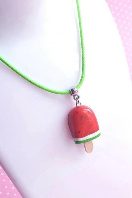 Popsicle Watermelon Necklace - Ice Cream Jewelry - Charm Necklace Pendant - Food Jewelry - Kawaii Fashion - Gift