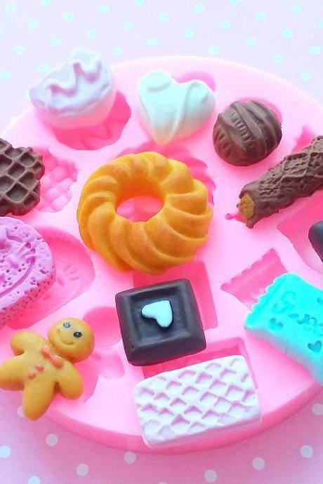 Chocolates, Cookies and Mixed Sweets Silicone Mold, Sweets Polymer Clay Mold, Flexible Push Mold, Dollhouse Miniature Mold, Resin Mold, #27