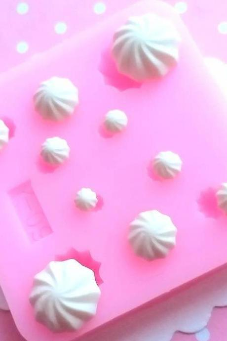 Miniature Whipped Cream Mold, Whipped Cream Polymer Clay Mold, Flexible Push Mold, Dollhouse Miniature Mold, Kawaii Decoden, Resin Mold, #22