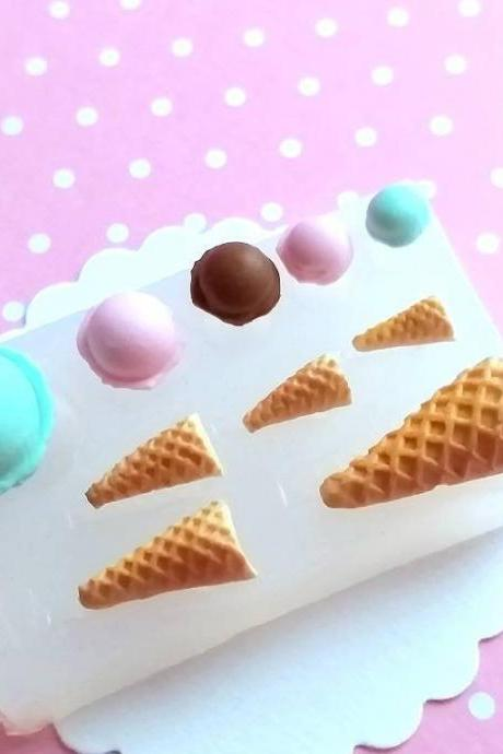 Ice Cream Cones and Scoops Mold, Ice Cream Polymer Clay Mold, Flexible Push Mold, Dollhouse Miniature Mold, Kawaii Decoden, Resin Mold, #18