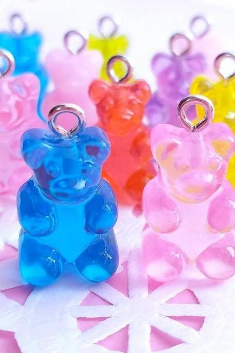6 Gummy Bear Charms, Resin, Mixed Colors, Fake Food Charms, Flatback, Food Jewelry, Decoden, Fake Food