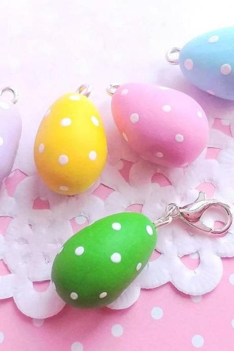 5 Miniature Eggs Charms - Kawaii Charms - Polymer Clay Charms - Food Jewelry - Gift - Necklace Pendant - Food Keychain
