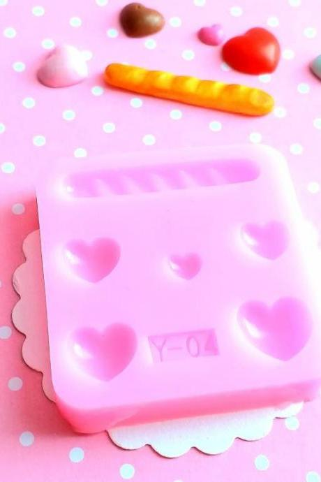 Hearts and Bread Silicone Mold, Cookie Polymer Clay Mold, Flexible Push Mold, Dollhouse Miniature Mold, Kawaii Decoden, Resin Mold, #28