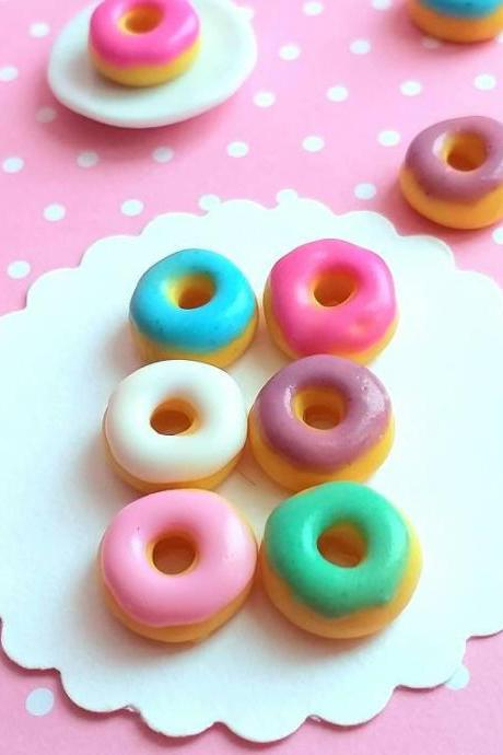 6 pcs Dollhouse Miniature Multicolor Donuts, Fake Food, Miniature Food, Dollhouse Food, Handmade, Miniature Bakery, Polymer Clay