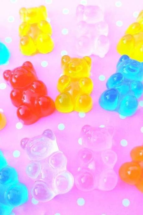 10 Gummy Bears Cabochons, Resin, Mixed Cabochons, Flatback, Slime, Decoden, Fake Food Cabochons, Embellishment