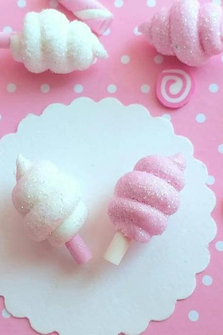 2 Sparkly Cotton Candy Cabochons, Decoden, DIY, Fake Food Cabochons , Slime, Polymer clay, Phone Case, Scrapbooking