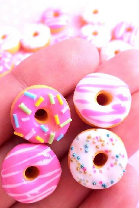 4 Pink Donut Cabochon, Decoden, DIY, Fake Food Cabochons , Slime, Polymer clay, Phone Case, Scrapbooking