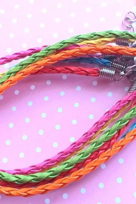 12 Faux Leather Braided Bracelets, Braided Bracelets, Jewelry supplies, Mixed Colors