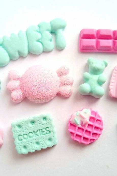 10 Sweets Cabochons, DIY, Decoden, Polymer Clay, Flatback, Kawaii, Phone Case, Fake Food Cabochons, Craft Supplies