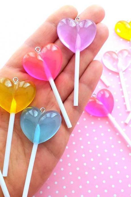 2 Heart Lollipops, Kawaii, Fake Food Charms, Gift for Her, Jewelry, Craft Supplies