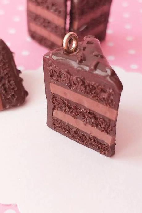 Chocolate Cake Charm - Miniature Food - Kawaii Charms - Polymer Clay Charms - Food Jewelry - Gift - Necklace Pendant - Food Keychain