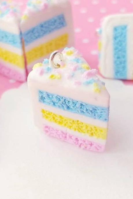 Layer Cake Charm - Miniature Food - Kawaii Charms - Polymer Clay Charms - Food Jewelry - Gift - Necklace Pendant - Food Keychain