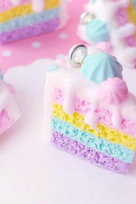 Rainbow Cake Charm - Miniature Food - Kawaii Charms - Polymer Clay Charms - Food Jewelry - Gift - Necklace Pendant - Food Keychain