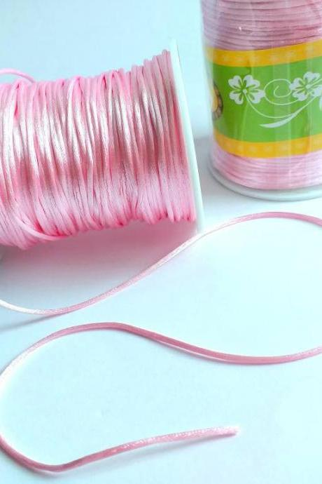 80m Pink Satin Cord, Nylon cord for making jewelry, 1,5mm