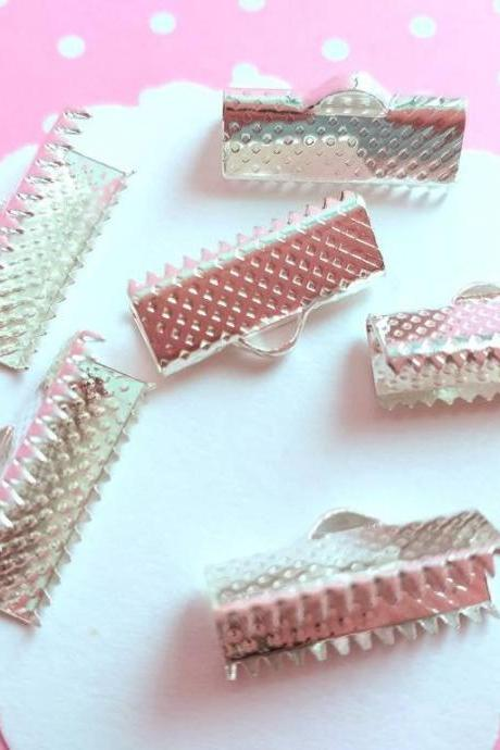 30 Ribbon Crimps 15x6mm silver tone, Jewelry supplies