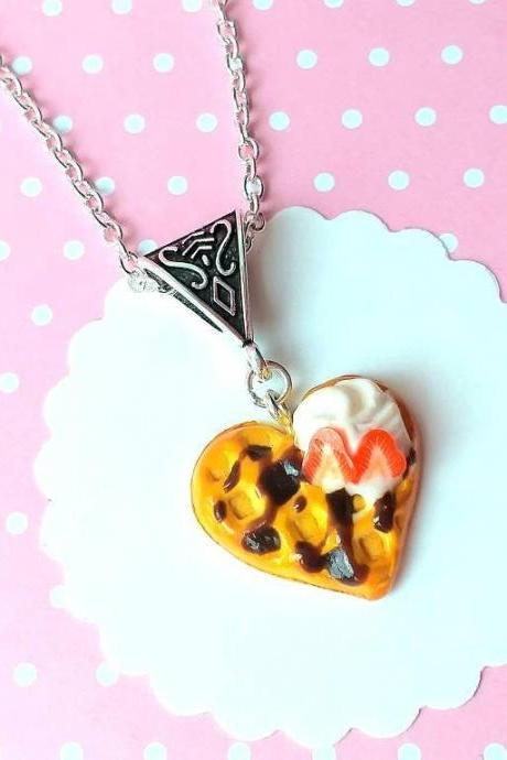 Waffle Heart Necklace - Charm Necklace Pendant - Food Jewelry - Kawaii Fashion - Gift