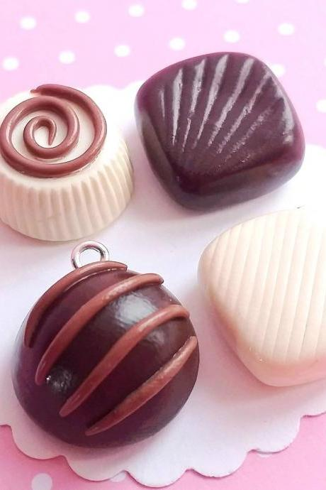 4 Mixed Chocolate Truffles Charms - Kawaii Charms - Polymer Clay Charms - Food Jewelry - Gift - Necklace Pendant - Food Keychain