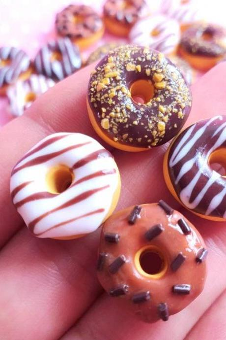 4 Chocolate Donut Cabochon, Decoden, DIY, Fake Food Cabochons , Slime, Polymer clay, Phone Case, Scrapbooking