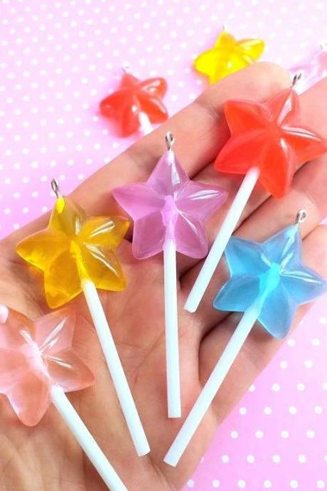 2 Star Lollipops, Kawaii, Fake Food Charms, Gift for Her, Jewelry, Craft Supplies