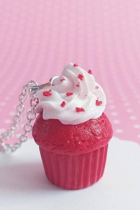 Red Velvet Cupcake Necklace - Charm Necklace Pendant - Food Jewelry - Kawaii Fashion