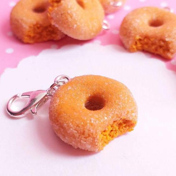 Pumpkin Donut Charm - Miniature Food - Kawaii Charms - Polymer Clay Charms - Food Jewelry - Gift - Necklace Pendant - Food Keychain